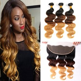 Lace Frontal Bundles Brown Ombre Hair Canada - 9A New Arrival 1B 4 27 Ear to Ear Lace Frontal With Bundles 4Pcs Lot Brown Blonde Ombre Body Wave Peruvian Virgin Hair