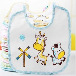 Barato Algodão Impresso Infantil Desgaste-Atacado- 2016 Hot Sale Color Random Baby Bib Printed Cute Animal Toalhas Saliva Infantil Newborn Wear Burp Cloths Cotton Soft Towel