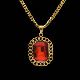 lace ruby NZ - Men Hip hop Luxury Lace Red Ruby Pendants Necklaces Top Quality Jewelry With Stainless Steel Cuban Chain