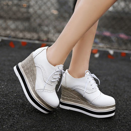 Spring Increased Large Base Platform Casual Shoes Fashion Women Girls Wedge  Lace-up Round Head 10 Cm Heels Shoes 34-39 9fba154da3c8
