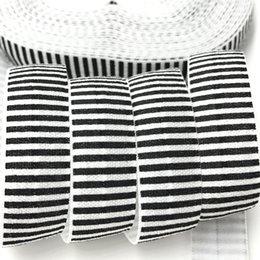 """$enCountryForm.capitalKeyWord Canada - 100 yards Black Stripe Print Fold Over Elastic 5 8"""" FOE Ribbon Webbing for Girls Hair Tie DIY Head wear Hair Accessories Bracelet Wristband"""