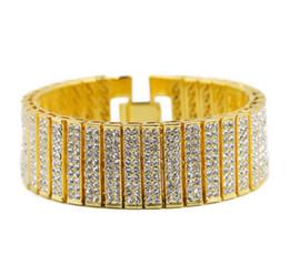 Vente en gros Hommes Hip Hop Bracelet Glacé Out Argent Or En Alliage de Zinc Chaîne Bracelet Simulé Diamant Tennis HipHop Bracelet pour Parti Gif 2017 Juillet Style