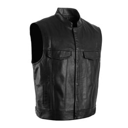 Barato Coletes De Punk Para Homens-Motorcycle Club Vest PU Faux Leather Casaco sem mangas Men's Punk Waistcoat