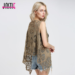 Barato Colete Assimétrico-Jastie Hippie Froral Patch Design Vest Retro Vintage Crochet Summer Beach cobre o assimétrico Open Stitch Kimono Z-63