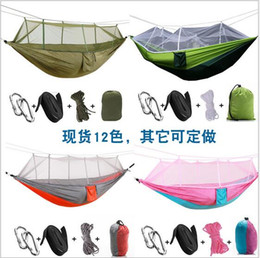 Discount portable folding camp beds - Multi-color 260 x 140cm Portable Hammock Double-person Folded Into The Pouch Mosquito Net Hammock Hanging Bed For Travel