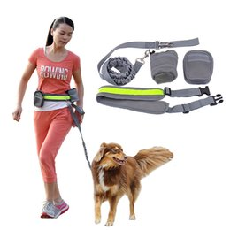 Medium Dog Collars Leashes Canada - Multifunction Retractable Elastic Nylon Belt Running Large Dogs Collars Leashes Padded Waist With Reflective Strip + Zipper Bag