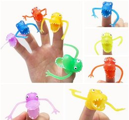 Mini Plastic Dinosaurs Canada - Free shipping 5 pieces lot Novel plastic finger puppet story Mini dinosaur toys with small finger Gashapon toys
