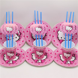 $enCountryForm.capitalKeyWord Australia - Wholesale-30pcs\lot happy birthday party supplies decoration plate baby shower cup hello kitty straws kids favors disposable paper dish
