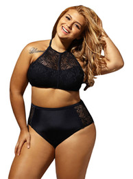 China Plus Size Swimwear Swimsut 2018 Chubby Women Large Size Two Piece Bikini Set Crochet swimwear Summer Beach Wear Swimsuit Bathing Suit cheap two piece bikinis suppliers