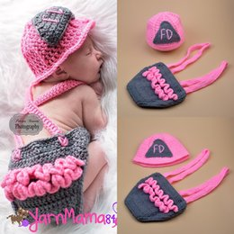 Crochet Baby Star Australia - Baby Boy Clothes Knitted Shape Hat Set Infant Photo Props Baby Photography Props Pink Fireman Shape Crochet Newborn Boys BP116