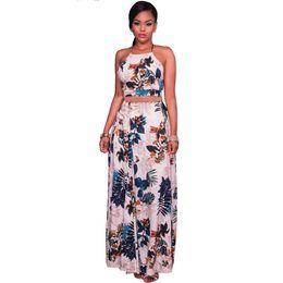 bea7af3577 Moda para mujer Elegante Sin respaldo Conjunto de dos piezas Vestido de  fiesta de noche Verano Estampado floral Tops y falda larga Conjunto