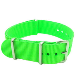 Nato Watch Straps Wholesale Canada - Wholesales 20mm Grass Green Canvas Nylon Military Nato Watch Strap Band