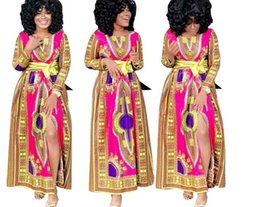 Robes Imprimées En Or Pas Cher-2017 nouvelles femmes Bodycon Dress Fashion Split Fuchsia Dashiki Print Gold Belt Robe manches longues Sexy club Bandage dresses