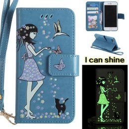 Glow dark iphone 5s case luminous online shopping - Luminous Glow In Dark Flower PU Leather Wallet Case For Iphone Plus S SE S Flip Cover Butterfly Business Patterned Cat