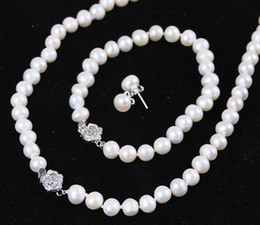 "cultured pearl jewelry set Canada - FREE SHIPPING>>8-9mm White Akoya Cultured Pearl Jewelry Bracelet Necklace Earrings Set 18""7.5"""