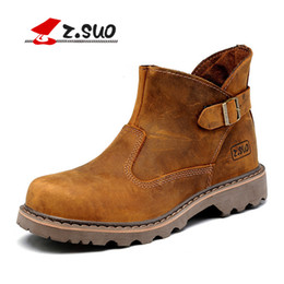 Men horse boots online shopping - Z suo men women autumn martin boots buckle design genuine leather work boots vintage lovers crazy horse leather tooling boots