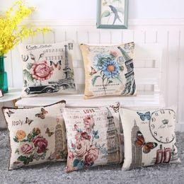 Discount wholesale decorative cushions - Vintage Flowers Cotton Linen Cushion Cover Decorative Pillowcase Chair Seat towel butterfly Square 45x45cm Pillow Cover