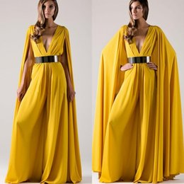 $enCountryForm.capitalKeyWord NZ - New Fashion 2017 Daffodil Chiffon Deep V Neck Pant Suit With Wraps Cheap Floor Length With Sash Formal Evening Dress Custom Made EN4218