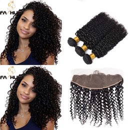 lace front bundles NZ - Brazilian Kinky Curly Virgin Hair Weave Bundles With Closure 100% Afro Natural Curly Lace Front Closure With Bundles Human Hair Extension