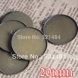 Blank Bezels Canada - 200piece lot antique bronze 20mm cabochon setting teeth edge bezels pendant base blanks for jewelry making