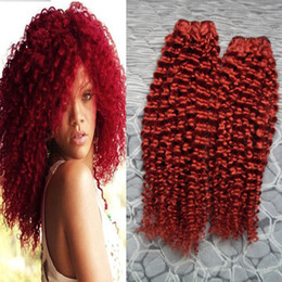 Discount curly remy hair red Mongolian kinky curly hair Human Hair Bundles Non Remy 4B 4C Red Color 100% Curly Weave Human Hair Bundles 200g 2pcs Weaving
