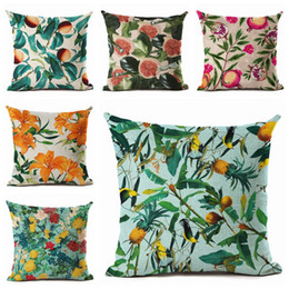 China modern country cushion cover bright colors fruit throw pillow case abacaxi decoration plant flower capa almofada chic cojines suppliers