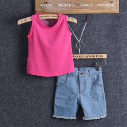 Clothing Baby Jeans Set Girls Canada - Baby Girl Clothes Set Boutique Children Clothing Pink Vest Tops Trousers Denim Shorts Pants Jeans Kids Teens Girls Suits 2pcs Outfit Sets