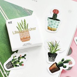 Wholesale 45 pack Pot Cultured Green Plants Label Stickers Decorative Stationery Stickers Scrapbooking DIY Diary Album Stick Label
