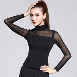 Barato Dance Sexy Sling-Sexy Women Lady Latin Dance Top Black Modal Sling Tulle Sleeve Baile Club Cha Cha / RumbaSamba / Paso Salsa Dança Vestidos DQ3147
