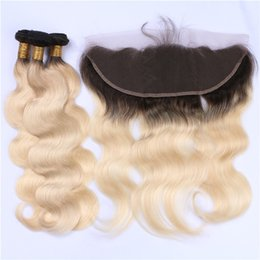 Ombre Lace Frontal Canada - Two Tone 1B 613 Ombre Brazilian Virgin Hair 3 Bundles With Frontal Dark Roots Blonde Ombre 13x4 Lace Frontal Closure With Weaves Extensions