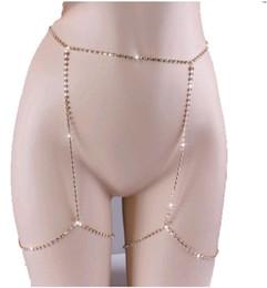 Vente en gros Sexy Body Chain Complet Strass Brillants CZ diamants Beauté Charme Jambe Bijoux Argent Or Femmes Chaînes De Ventre