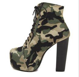 ca789e03974f 2017 New Women Autumn Boots High Heels Platform Military Boots Green Color  Botines Mujer Plataforma Martin Boots