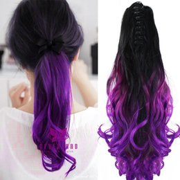 """$enCountryForm.capitalKeyWord Australia - Wholesale- Purple Color 20"""" 50cm Claw Pony Tail Ponytail Clip In On Hair Extension Wavy Curly Style Synthetic Hair Hairpieces Extensions"""
