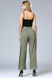 Barato Mulheres Novas Do Estilo Das Calças Soltas-New Fashion Drawstring Pants Mulheres High Cintura Feminino Loose Pants Sweet Style Solid Black Ladies Wide Leg Pants