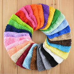 Korea Child Hair Canada - 7 cm Korea Children Knitted elastic headbands Baby Crochet hair band 38 color 100 p l