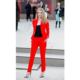 Barato Elegante Casual Ternos Calça-Red Women Business Costumes Vestuário formal Wear 2 Piece Sets Office Uniform Styles Laodes Elegant Pant Suits Feminino Casual Office Suit