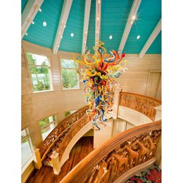 $enCountryForm.capitalKeyWord NZ - New Arrival Foyer Villa Decor Colorful Blown Murano Glass Chandelier Modern Art Italy Designed Chihuly Style High Ceiling LED AC Chandelier