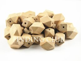 $enCountryForm.capitalKeyWord UK - 50pcs Oblong Unfinished Natural Wood Beads 14 Hedron Geometric Figure Solid No Varnish & No Lacquer 16x12mm DIY Findings WB10