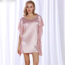 44fdf72785 Summer Sexy Silk Nightgown Sleepshirts Women Sleepwear Short-sleeves Lounge Satin  Silk Nightwear Female Dres