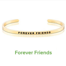 $enCountryForm.capitalKeyWord Canada - Elegant Gold Stainless Steel Engraved FOREVER FRIENDS Inspirational Quote Hand Stamped Cuff Mantra Bracelet Bangle For Girl Gift
