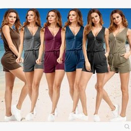 Combinaisons Courtes Occasionnelles Pour Femmes Pas Cher-Combinaisons Taille Plus S-5XL pour Femmes Vêtements Beach Vêtements décontractés V-manches sans manches Zipper Slim Femme Robes Romaines Loose Women Clothes
