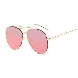 Chinese  Rimless Double Bridge Metal Sunglasses Women Aviator Sunglass Mirrors Pink Rose Gold Shades Oversize Big Frame Sun Glasses For Men Shades manufacturers