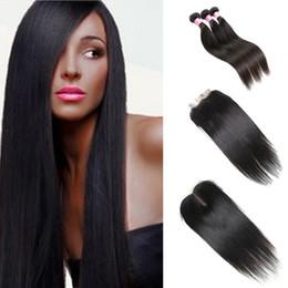 34 inch cambodian virgin hair online shopping - Straight Malaysian Human Hair Bundle with Closure Bundles Striaght Peruvian Hair Cambodian Mongolian Brazilian Virgin Human Hair Weaves