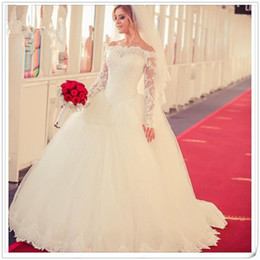 Robe Mariage Plus Size NZ - Princess Long Sleeve Off the Shoulder Wedding Dress Robes De Mariage Lace White Tulle Ball Gown Vintage Wedding Dresses Plus Size