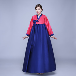 traditional korean women clothing Canada - Cheap Red And Blue Traditional Korean Hanbok Dresses Women Hanbok Clothing Dance Dress Costume