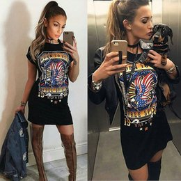Wholesale Dongguan_wholesale women eagle print t shirt s habille summer rock chic tshirt sexy club à manches courtes mini robe casual WM013