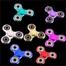 Metal Plating Fidget Spinner UK - Plating Fidget Hand Spinner Metallic Electroplate Color Tri Fidget Spinners Handspinner Metal Ball Fingertip Finger Gyro Decompression Toys