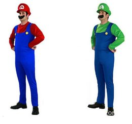 Barato Super Mario Bros Cosplay Costume-Adulto <b>Super Mario Bros Cosplay Costume</b> Set Children Halloween Party MARIO LUIGI Traje CO22110123