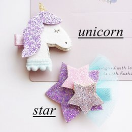 Wholesale Mode Cute Girls Glitter Unicorn Feutre Star Barrettes Baby Girls Pinces à cheveux Solid Kawaii Animal Fox Hair Clips Accessoires pour cheveux Headware