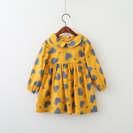 Robes Coeur Pour Bébé Pas Cher-Everweekend Kids Girls Print Sweet Heart manches longues Lovely Dress Ruffles Baby Autumn Princess Dress Clothing Wholesale